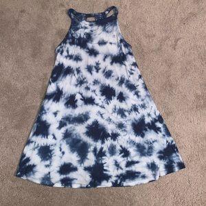 Sz Large Blue & White Tie Dye Keyhole Swing Dress